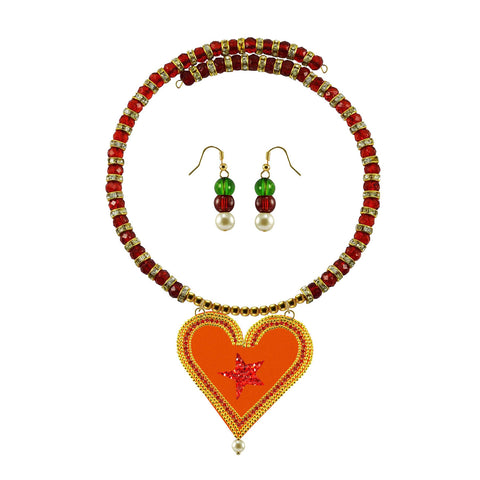 Golden Color Brass Moti Stud Necklace Set - nec5029