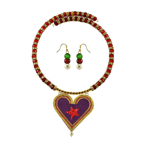 Golden Color Brass Moti Stud Necklace Set - nec5030