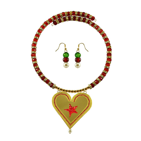 Golden Color Brass Moti Stud Necklace Set - nec5031
