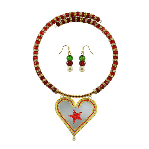 Golden Color Brass Moti Stud Necklace Set - nec5032