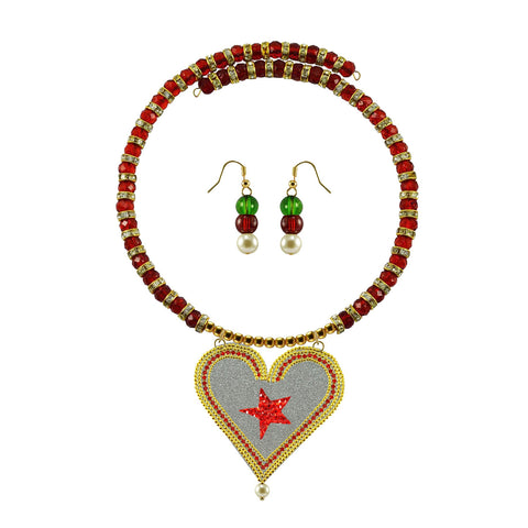 Golden Color Brass Moti Stud Necklace Set - nec5036