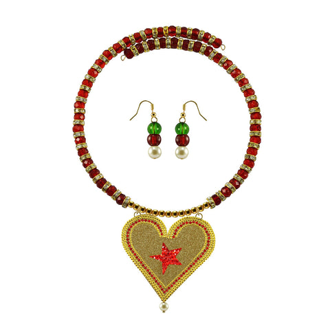 Golden Color Brass Moti Stud Necklace Set - nec5037