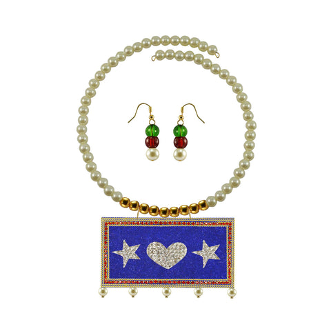 Golden Color Brass Moti Stud Necklace Set - nec5039