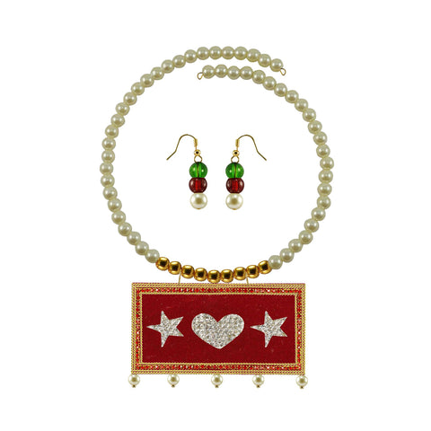 Golden Color Brass Moti Stud Necklace Set - nec5040