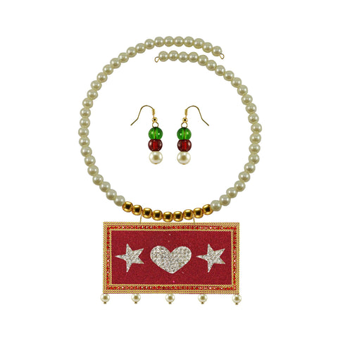 Golden Color Brass Moti Stud Necklace Set - nec5042