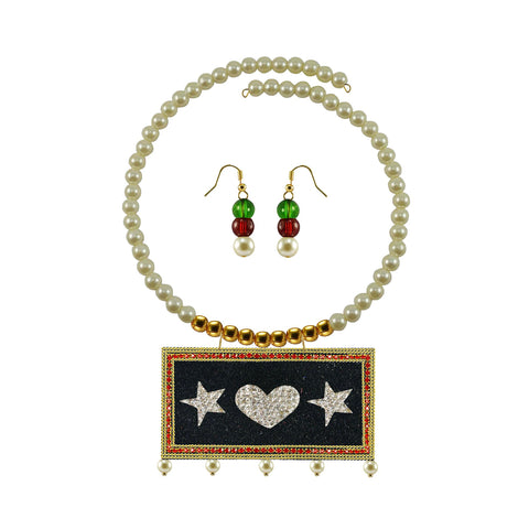 Golden Color Brass Moti Stud Necklace Set - nec5043