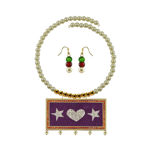 Golden Color Brass Moti Stud Necklace Set - nec5047