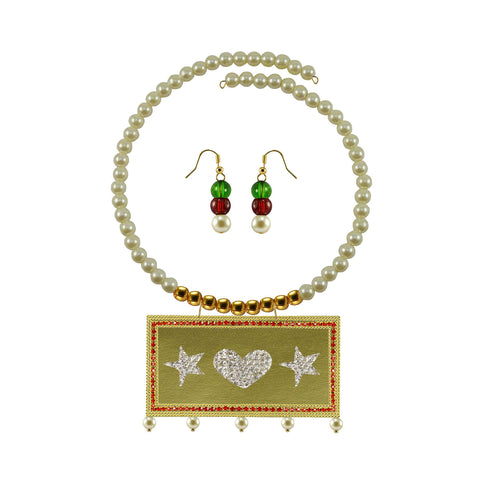 Golden Color Brass Moti Stud Necklace Set - nec5050