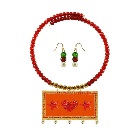 Golden Color Brass Moti Stud Necklace Set - nec5058