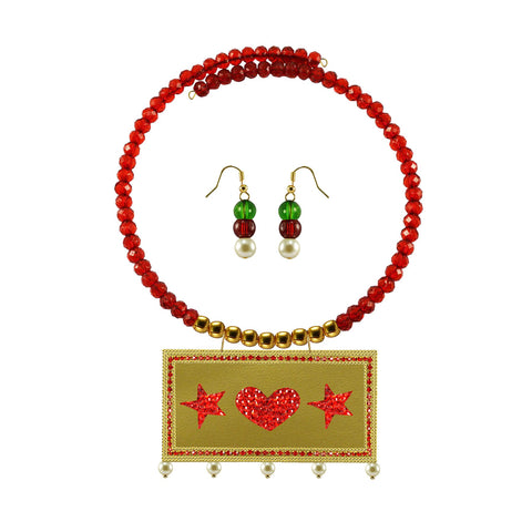 Golden Color Brass Moti Stud Necklace Set - nec5060