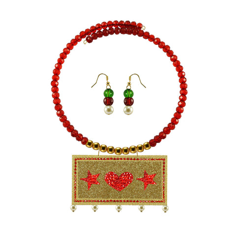 Golden Color Brass Moti Stud Necklace Set - nec5066