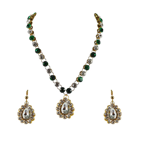 Green And White Color Stone Stud-Gold Platted Brass Pendant Set - nec748