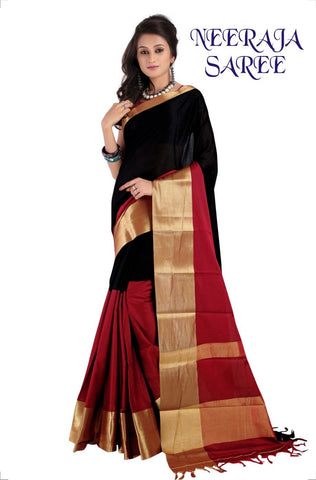 Black and Red Color Cotton Masaraised Saree - neeraja-002