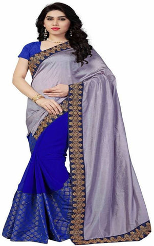 Grey And Blue Color Nylon Silk Georgette And Georgette Saree - nx102