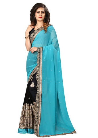 Black And Sky Blue Color Georgette Saree - nx123