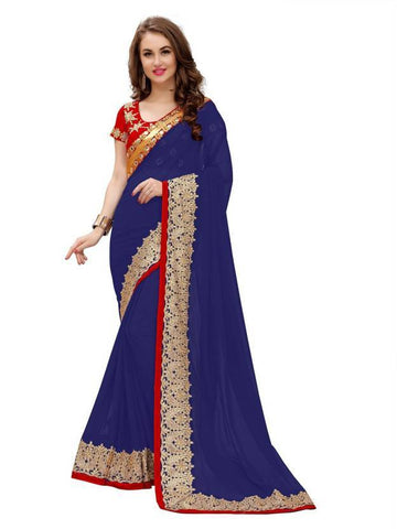 Navy Blue Color Georgette And Lycra DueDrope Saree - nx163