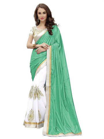 White And Sea Green Color Paper Silk And Georgette Saree - nx176g