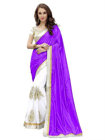 White And Purple Color Paper Silk And Georgette Saree - nx176p