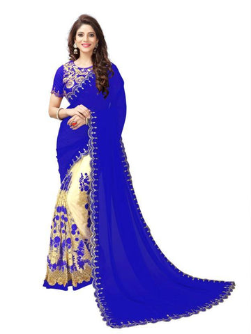 Blue And Beige Color Georgette And Nylon Mono Net Saree - nx199b