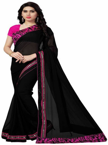 Black Color 60Gm Georgette Saree - nx46