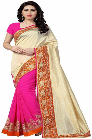 Pink And Cream Color Zoya Silk And Georgette Saree - nx54