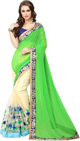 Cream And Green Color 60Gm Georgette And Nylon Mono Net Saree - nx93