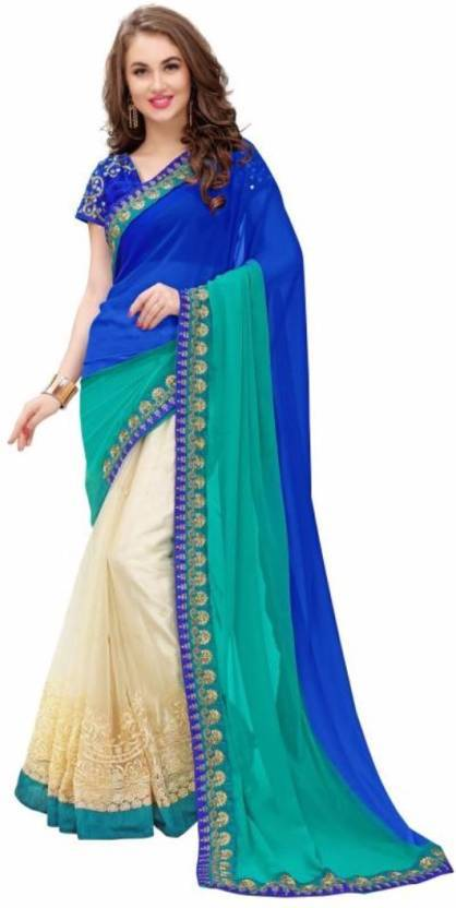 9969eab77d Buy Multi Color Georgette Pedding And Nylon Mono Net Saree | Zinnga