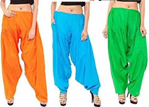 COMBOS  - Orange And Firozi And Green Color Cotton Stitched Women Patiala Pants - orange_firozi_green