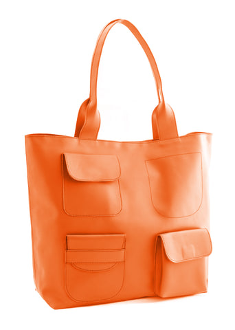Orange Color PU Women Hand Bag - AWBT1OR
