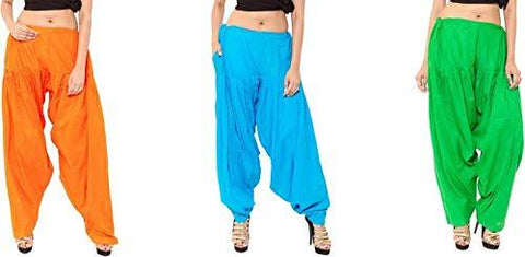 COMBOS - Multi Color Cotton Stitched Women Patiala Pants - orangefirozigreen