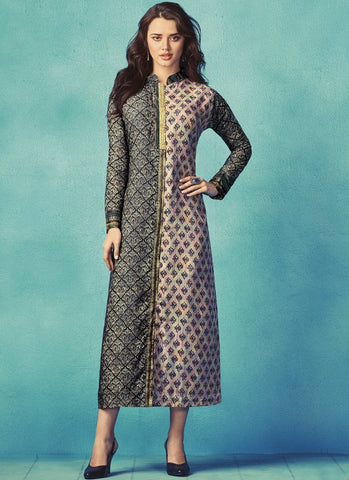 Multi Color Apple Georgette With Japan Satin Stitched Kurti - palchu4-1034