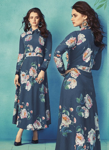 Navy Blue Color Apple Georgette With Japan Satin Stitched Kurti - palchu4-1036