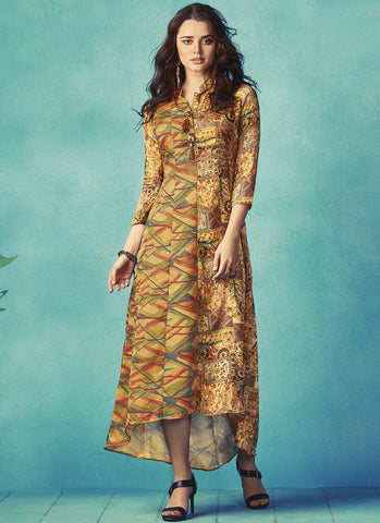 Yellow Color Apple Georgette With Japan Satin Stitched Kurti - palchu4-1037