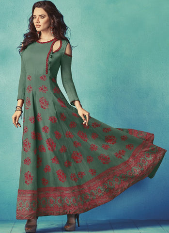 Green Color Apple Georgette With Japan Satin Stitched Kurti - palchu4-1040