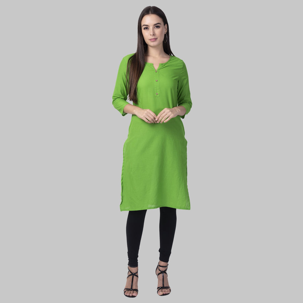 Buy Parrot Green Color Cotton Women's Stitched Kurti