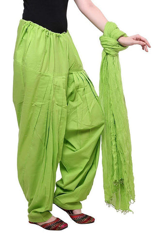 COMBOS - Parrotgreen Color Cotton Stitched Women Patiala Pant With Duppata - Parrotgreen