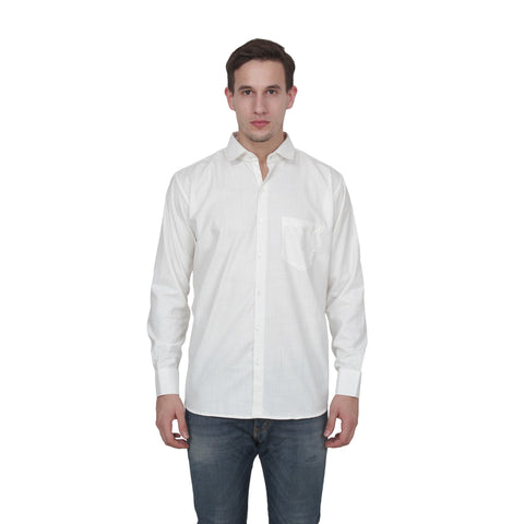 White Color Cotton Blend Slim Fit Shirts - party-white