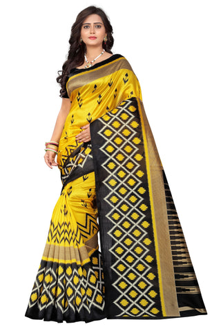 Black-Yellow Color Art Silk Saree  - patola-print-black-yellow