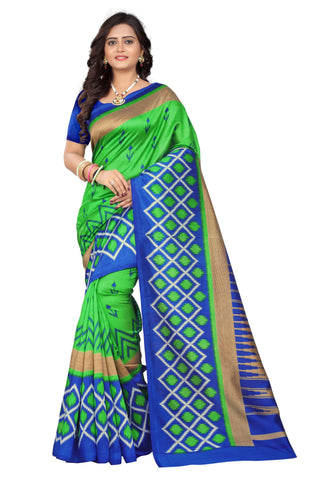 Blue-Green Color Art Silk Saree  - patola-print-blue-green