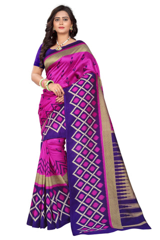 Blue-Pink Color Art Silk Saree  - patola-print-blue-pink