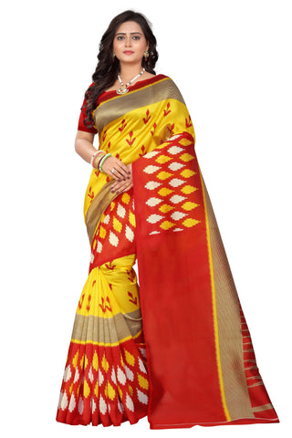 Red-Yellow Color Art Silk Saree  - patola-print-red-yellow