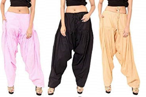 COMBOS  - Pink And Black And Beige Color Cotton Stitched Women Patiala Pants - pink_black_beige