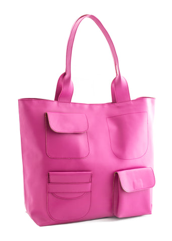 Fuschia Color PU Women Hand Bag - AWBT1FS