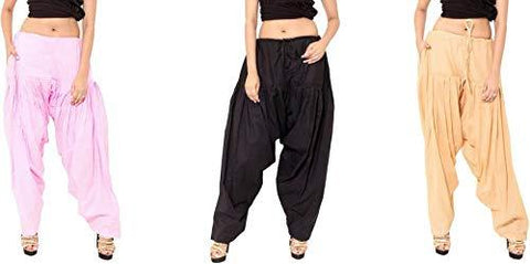 COMBOS - Multi Color Cotton Stitched Women Patiala Pants - pinkblackbeige