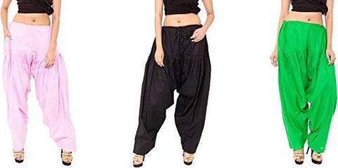COMBOS - Multi Color Cotton Stitched Women Patiala Pants - pinkblackgreen