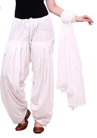White Color Cotton Women's Patiala - pla0011