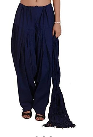 Navy Blue Color Cotton Women's Patiala - pla0012