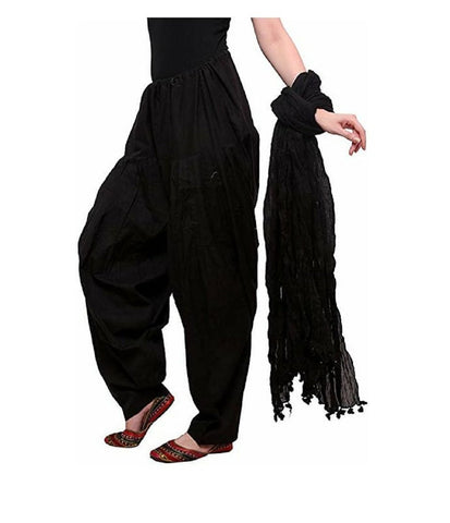 Black Color Cotton Women's Patiala - pla0014