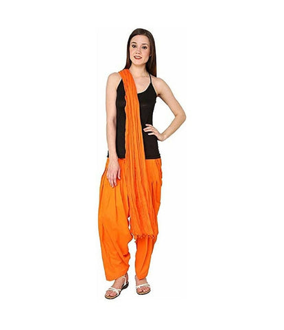 Orange Color Cotton Women's Patiala - pla001