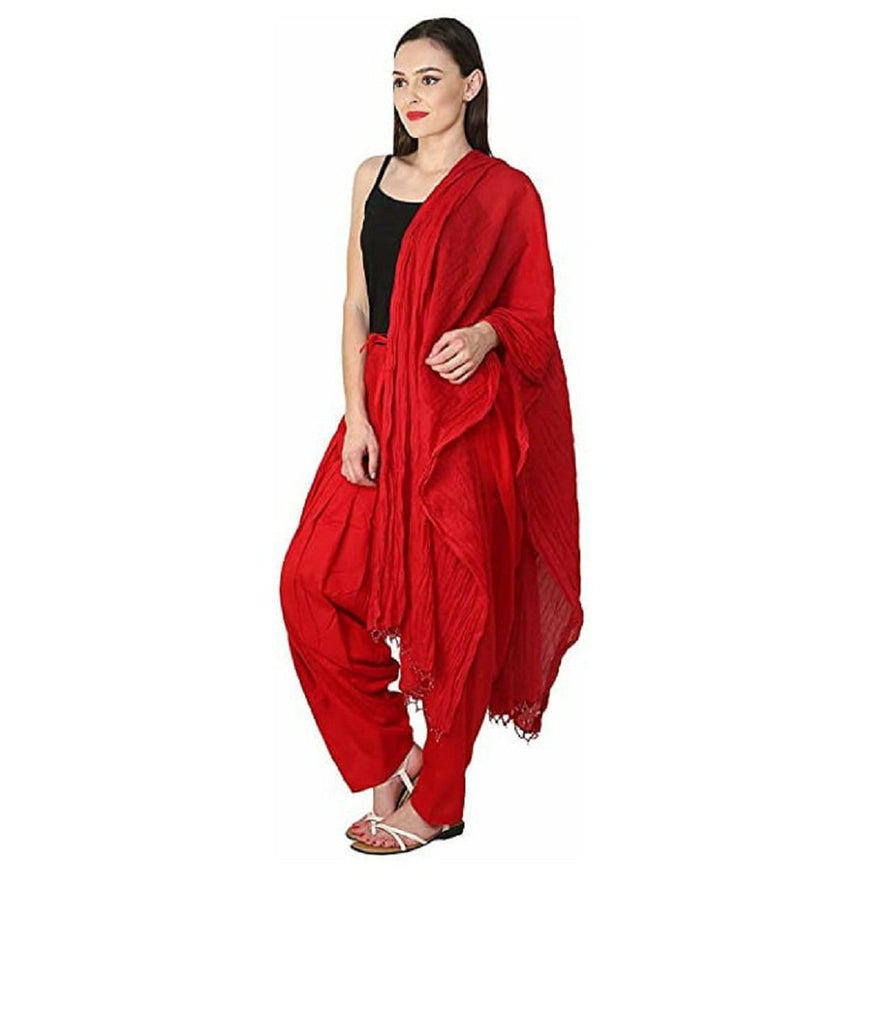 Buy Red Color Cotton Women's Patiala